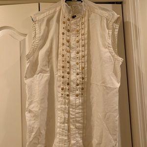 Gianni Versace white/cream colored sleeveless top